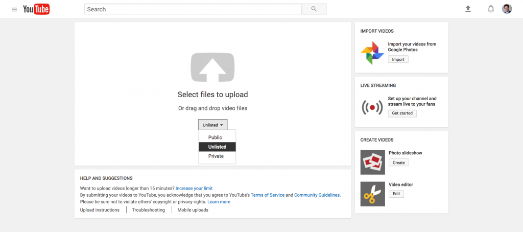 Uploading Unlisted Video to Youtube